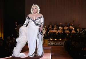 Beth Ditto walking for Marc Jacobs.