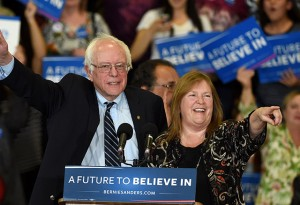 Sen. Bernie Sanders and his wife Jane O'Meara Sanders at a campaign rally at Bonanza High School. (Photo by Ethan Miller/Getty Images)