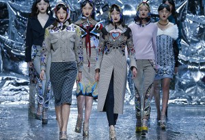 BEIJING, CHINA - MARCH 27:  Models  showcases designs on the runway at Mary Katrantzou Collection show during the Mercedes-Benz China Fashion Week Autumn/Winter 2016/2017 at 751D.PARK on March 27, 2016 in Beijing, China.  (Photo by Lintao Zhang/Getty Images)