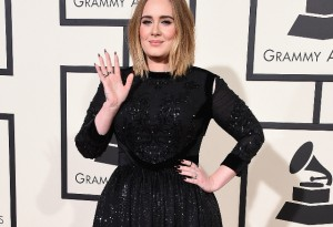 Adele at The Grammys. Image via Getty.