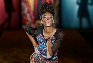 MADRID, SPAIN - FEBRUARY 06:  Model Winnie Harlow walks the runway at the Desigual show during Madrid Fashion Week Fall/Winter 2015/16 at Ifema on February 6, 2015 in Madrid, Spain.  (Photo by Carlos Alvarez/Getty Images)