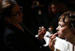 NEW YORK - SEPTEMBER 8:  Bobbi Brown prepares a model backstage before the Alvin Valley Show during Olympus Fashion Week Spring 2005 at Bryant Park September 8, 2004 in New York City. (Photo by Matthew Peyton/Getty Images)