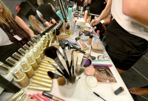 MIAMI BEACH, FL - JULY 15:  a view of the makeup table at the Frankie's Bikinis 2017 Collection at SwimMiami - Backstage at W South Beach on July 15, 2016 in Miami Beach, Florida.  (Photo by Gustavo Caballero/Getty Images for Frankie's Bikinis )