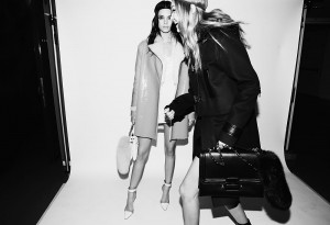 MILAN, ITALY - FEBRUARY 26: (EDITORS NOTE: Image has been converted to black and white.)   Kendall Jenner and Gigi Hadid pose backstage ahead of the Versace show during Milan Fashion Week Fall/Winter 2016/17 on February 26, 2016 in Milan, Italy.  (Photo by Vittorio Zunino Celotto/Getty Images)