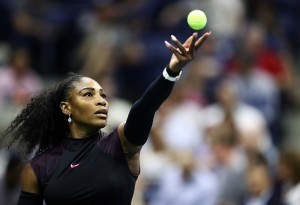 NEW YORK, NY - SEPTEMBER 01:  Serena Williams of the United States serves to Vania King of the United States during her second round Women's Singles match on Day Four of the 2016 US Open at the USTA Billie Jean King National Tennis Center on September 1, 2016 in the Flushing neighborhood of the Queens borough of New York City.  (Photo by Elsa/Getty Images)